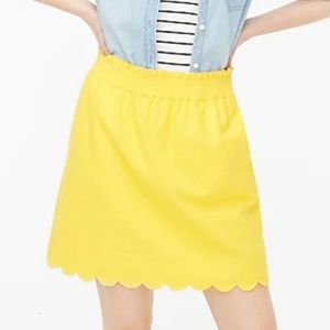 J Crew womens yellow scallop paper bag skirt 14 XL